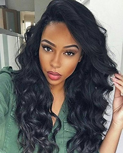 H&N Hair Brazilian Virgin Lace Front Wigs Body Wave Human Hair Wigs For Black Women 130% Density with Baby Hair Natural Black (18inch) by Bellishe