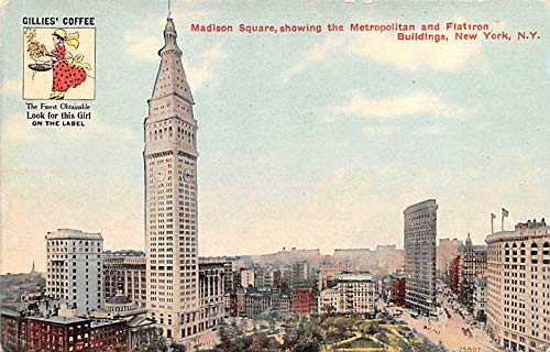 (Advertising Post Card Gillies' Coffee Madison Square, Flat Iron Buildings, New York, NY USA Unused)