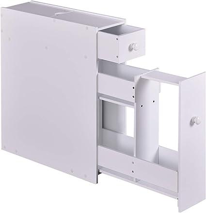 Vengaconmigo Meuble De Rangement Salle De Bain Armoire Wc Avec Tiroir Pour Papier Toilette Porte Brosse Wc 16 X 48 5 X 58 Cm Blanc Amazon Fr Cuisine Maison