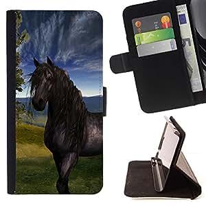 Momo Phone Case / Flip Funda de Cuero Case Cover - Sky Horse Mustang Stallion Naturaleza Pintura - Samsung Galaxy S5 Mini, SM-G800