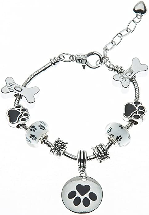 I love Dogs with Red Heart Infinity Toggle Chain Bracelet