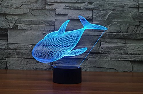 SOKOS Nightlight, 3D visualization Illusion Multi-colored Change USB Touch Button LED Desk Lamp, Table Light for Room Decorative or Gifts for Friends/Kids (Whale (Soko Wall Cover)