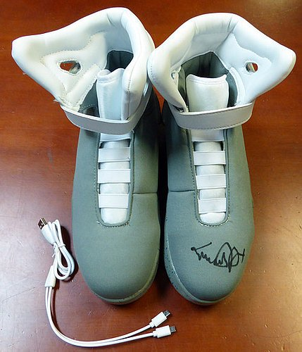 Michael J Fox Signed Back To The Future Air Mag Shoes - PSA/DNA Authentication - Celebrity Autographs