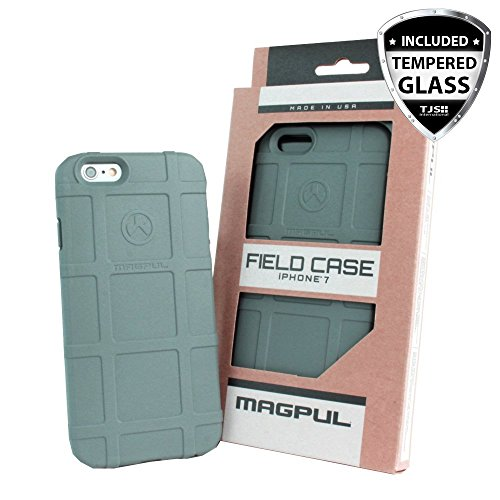iPhone 7 Case, iPhone 8 Case, with TJS [Tempered Glass Screen Protector], Magpul [Field] MAG845 Polymer Case Cover Retail Packaging for Apple iPhone 7/iPhone 8 4.7 inch (Grey)