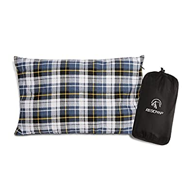 REDCAMP Outdoor Camping Pillow Lightweight, Flannel Travel Pillow Cases, Removable Pillow Cover from FREELAND EXCEED INC