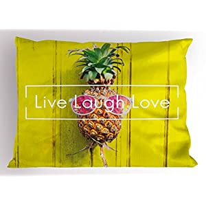 Live Laugh Love Decor Pillow Sham by Ambesonne, Tropical Pineapple with Sunglasses on Yellow Wood Board Joyful Print, Decorative Standard Queen Size Printed Pillowcase, 30 X 20 Inches, Multicolor
