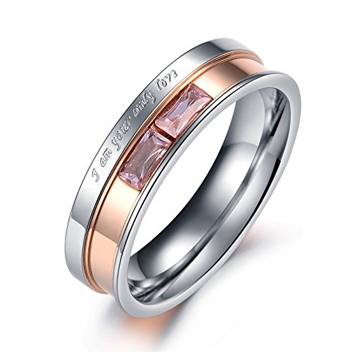 GemMart Jewelry Fashion Jewelry 316L Stainless Steel Ring Silver Black//Gold Circle Simple Couple Ring Wedding Ring Engagement Ring MGJ329
