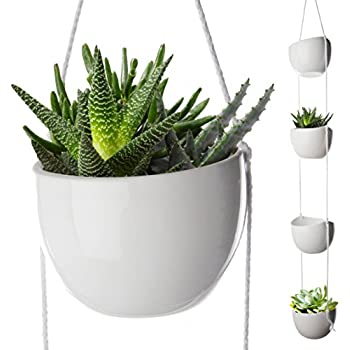 4 piece modern ceramic hanging planters for for Decorative hanging pots