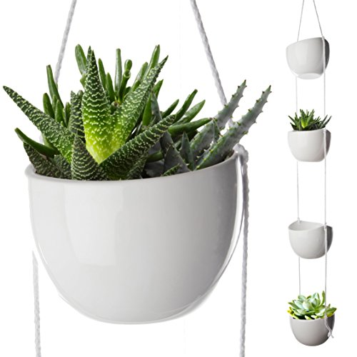 4 Piece Modern Ceramic Hanging Planters for Indoor Plants, Outdoor Planter, Succulent Plants Pots, Decorative Display Bowls, Flowerpot Containers for Moss, Cacti, Flowers, White, By California Home Ceramic Hanging Planters