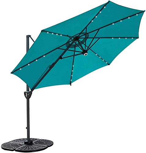 COBANA 10 Offset Patio Umbrella with Solar Powered and Blue-Tooth Speaker and 360 Degree Rotation Pole, Blue