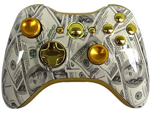 ombies Xbox 360 Modded Controller COD Ghosts MW3 Black Ops 2 MW2 Rapid Fire Mod Money 100 Dollar Bills Metal Thumbsticks GTA5 GOW ()