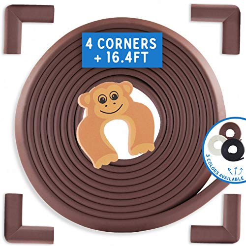 Bebe Earth | Baby Proofing Edge & Corner Guard Protector Set | Safety Bumpers | Child Proof Furniture & Tables | Pre-Taped Bumper Corners [16.4 ft + 4 Corner Guards] Coffee Brown