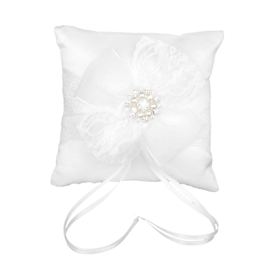 Coussin Porteur de Bague Orné de Fleur en Dentelle 20 x 20cm pour Mariage - Blanc Générique generico
