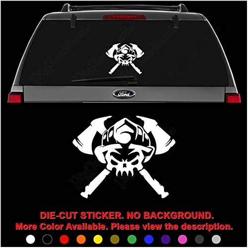 - Firefighter Death Skull Axes Die Cut Vinyl Decal Sticker for Car Truck Motorcycle Vehicle Window Bumper Wall Decor Laptop Helmet Size- [10 inch] / [25 cm] Wide || Color- Gloss Black
