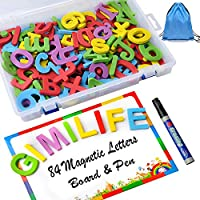 Gimilife Alphabet Magnets, Magnetic Letters Stickers Board Gift for Kids,Refrigerator Magnets and Storage Box Educational Toy Set for Preschool Classroom Home Learning Spelling