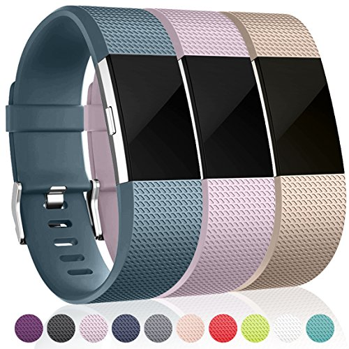 Bands for Fitbit Charge 2, Champagne Slate Blue Lavender