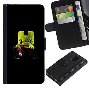 Paccase / Billetera de Cuero Caso del tirón Titular de la tarjeta Carcasa Funda para - Cute Monster Toy 3D Figurine - Samsung Galaxy S5 V SM-G900