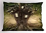 Ambesonne Mystic Pillow Sham, Fantasy Tree House in The Mysterious Forest Windows and Smoke Chimney Image, Decorative Standard Size Printed Pillowcase, 26 X 20 inches, Dark Taupe Green