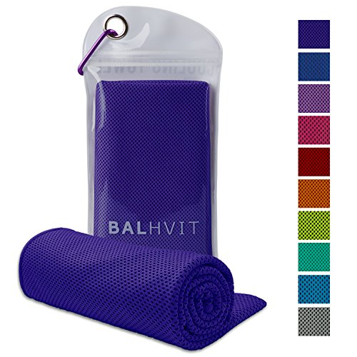 Balhvit Cooling Towel, Cool Towel for Instant Cooling Relief, Chilling Neck Wrap, Ice Cold Scarf for Men Women, 40x12, Microfiber Bandana - Evaporative Chilly Towel for Yoga Golf Travel Beach