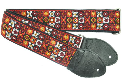 Souldier GS0295BK02BK Custom USA Handmade Woodstock Electric Guitar Strap - Red/Black