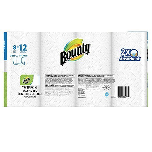 (Bounty 74728 Select-a-Size Paper Towels, 2-Ply, White, 5.9 x 11, 83 Sheets/Roll, 8 Rolls/CT)