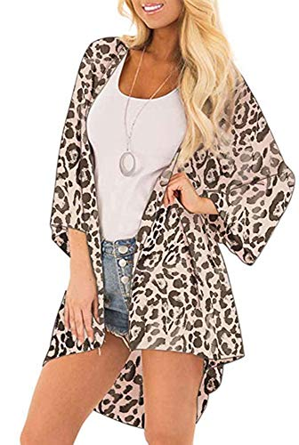 Womens Floral Kimono Cardigans Sheer Print Chiffon Loose Beach Cover ups ( Leopard Print,S