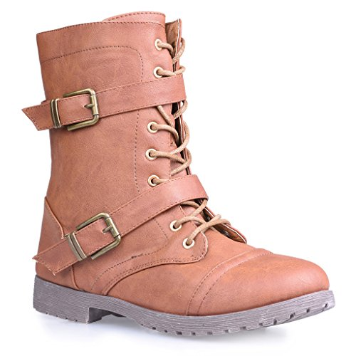 Twisted Women's Ainsley Fashion Military Boot - COGNAC, Size 7