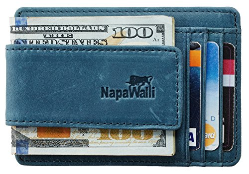 NapaWalli Genuine Magnetic Napa Leather Front Pocket Money Clip Slim Minimalist Wallet Made with Powerful RARE EARTH Magnets Plus RFID Blocking (Crazy Horse Blue)