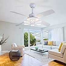 Arctic White 52 Inch Modern Simple Ceiling Fan Lights Has Four ABS Blades with Remote Control Led 3- Change Color Light for Living Room Dining Room and Bedroom