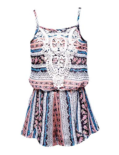 Truly Me, Little Girls' Sleeveless Spaghetti Strap Floral Print Spring/Summer Romper with Crochet Lace Neck Embellishment, Size 4-6X (Ivory Multi, 6X)