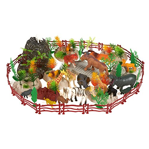 100-Pack Plastic Zoo Animal Toys - Zoo Animal Figures Set, Small Zoo Animal Figurines with Fake Props, Foliage, Fencing and Rocks, Includes Carrying Case - Box Dimensions: 10.5 x 6.7 x 8.2 Inches