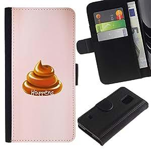 KingStore / Leather Etui en cuir / Samsung Galaxy S5 V SM-G900 / Shit Happens Turd de oro de Brown del melocotón