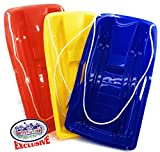Matty's Toy Stop 26'' Heavy Duty Plastic Snow Sled Toboggan with Tow Rope for Kids Red, Yellow & Blue Gift Set Bundle - 3 Pack