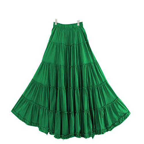 CoutureBridal Womens Elastic Tiered Boho Long Circle Broomstick Peasant Skirt Dance Green One Size ()
