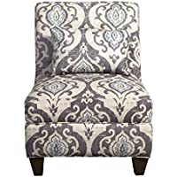 Modern Style Blue Gray Large Accent Armless Chair Living Room Decor | Wooden Legs, Gray Floral Design | Foam Seat - Includes ModHaus Living Pen
