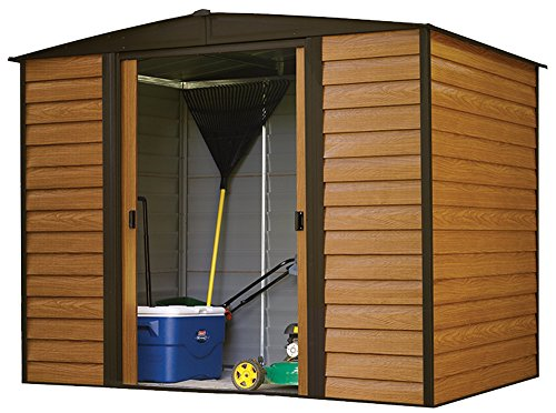 Arrow-Woodridge-Low-Gable-Steel-Storage-Shed-CoffeeWoodgrain