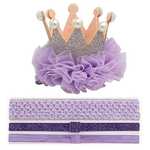 First Birthday Crown Clips for Thick Hair toddler Girl Silver Crown Headband (Purple) by Nihao Baby
