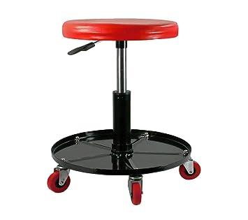 CASTOOL - Taburete de Rodillo mecánico neumático, Ajustable, Color Rojo y Negro con Capacidad de 300 Libras: Amazon.es: Coche y moto