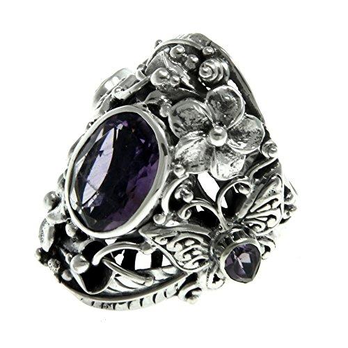 Rings : Amethyst Cocktail Ring (NOVICA Amethyst Multigem .925 Sterling Silver Cocktail Ring, 'Frangipani Butterfly')