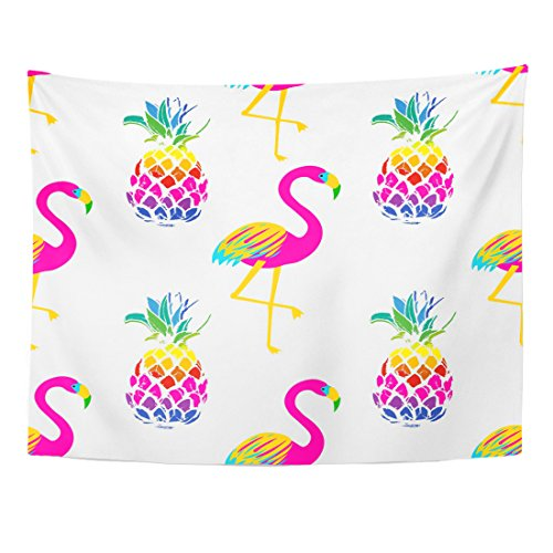 Breezat Tapestry Yellow Abstract Vivid Exotic with Bright Flamingo Birds and Pineapples in Colorful Animals Home Decor Wall Hanging for Living Room Bedroom Dorm 60x80 Inches by Breezat