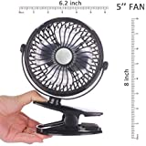 Clip on Fan, Usb And Battery Operated Cooling Fan For Travel, Camping, Portable Rechargeable Small Fan for Table, Office, Dorm, Baby Stroller