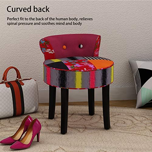 Hironpal Padded Patchwork Dressing Table Stool for Bedroom Upholstered Makeup Stool Vanity Chair for Living Room, L*W*H: 46 * 49 * 58 CM. (Patchwork)