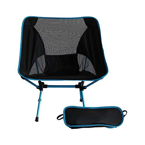 Hinsper Ultralight Portable Folding Compact Camp Beach Camping Backpacking Chair with Carry Bag-Super Lightweight for Outdoor Activities (Blue) (Leather Beach Chair)