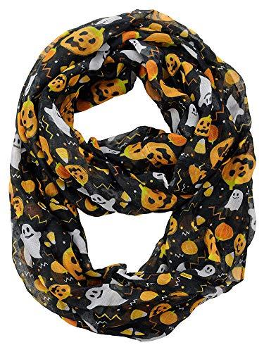 D&Y Halloween Theme Sheer Loop Infinity Scarf, Pumpkins and Ghosts]()