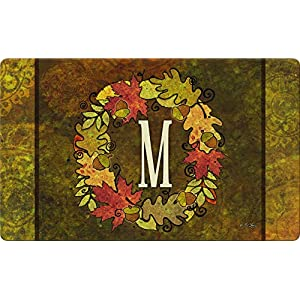 Toland Home Garden Fall Wreath Monogram M 18 x 30 Inch Decorative Autumn Floor Mat Colorful Leaves Doormat 93
