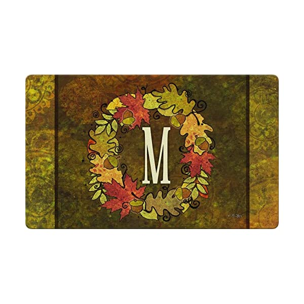 Toland Home Garden Fall Wreath Monogram M 18 x 30 Inch Decorative Autumn Floor Mat Colorful Leaves Doormat