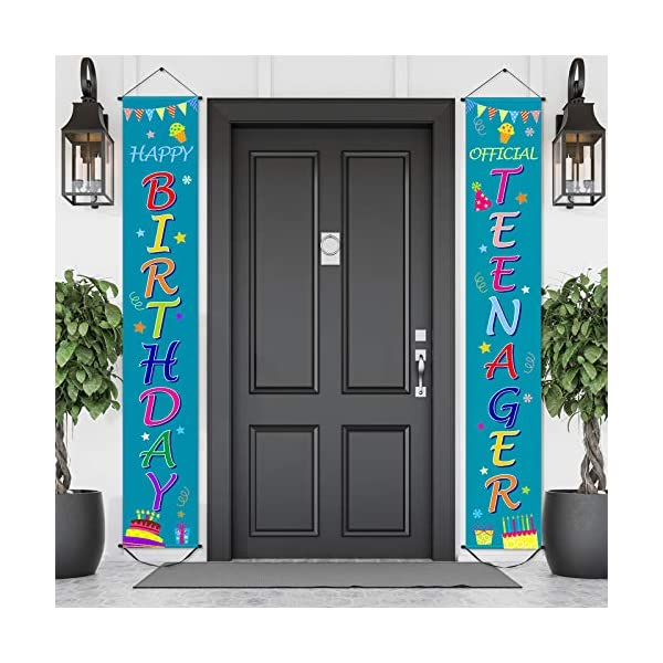 13th-Official-Teenager-Birthday-Banner-Happy-Birthday-Decorations-13-Years-Old-Happy-Birthday-Banner-Door-Hanging-Porch-Sign-71-x-12-Inch