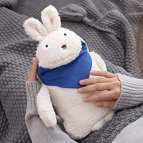 Luckyx Kinder- Wärmflasche Hase, Kuscheltier Wärmflasche Mit Kuscheligem Flauschbezug Premium Süße Plüschpuppe Kaninchenbezug Kuscheligem Flauschbezug Premium, Klassisch Kautschuk Warm Kühlen