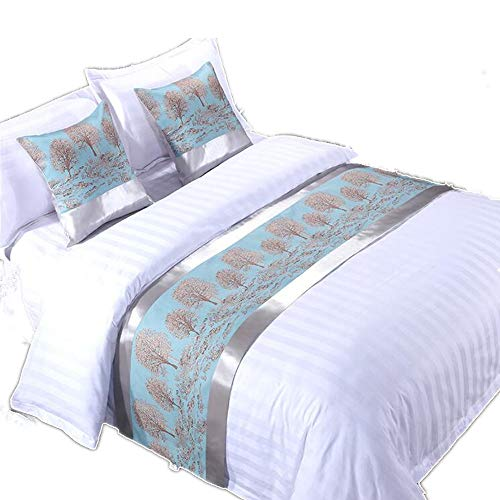 YIH Bed Runner Scarf Turquoise Blue Tree, Quilted Hotel Quality Bed Scarf Foot Bed Decorative Protector Slipcover, 94 inches 19 inches (Bed Scarves)