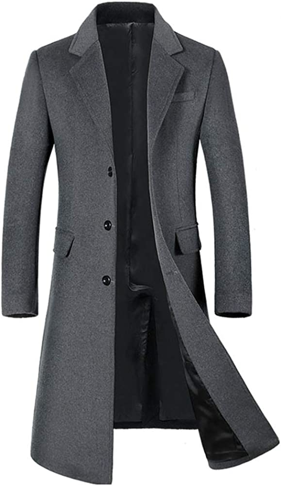 YOUTHUP Mens Coats Slim Fit Wool Winter Overcoats Thick and Warm Long Trench Coat